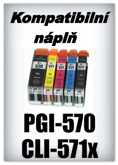 Náplně do tiskáren Canon PGI-570 a CLI-571 XL - SADA 5 náplní - kompatibilní